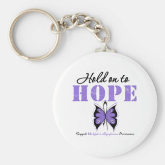 Hodgkin's Lymphoma Hold On To Hope Basic Round Button Keychain