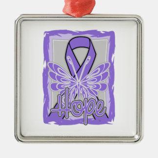 Hodgkin's Lymphoma Hope Butterfly Portrait Christmas Ornament