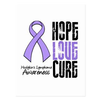 Hodgkin's Lymphoma Hope Love Cure Ribbon Postcard