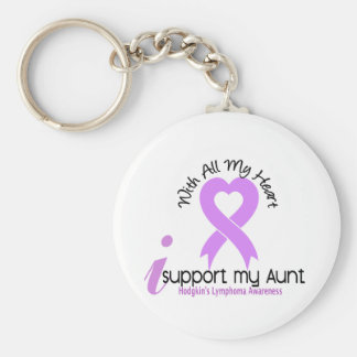 Hodgkins Lymphoma I Support My Aunt Basic Round Button Keychain