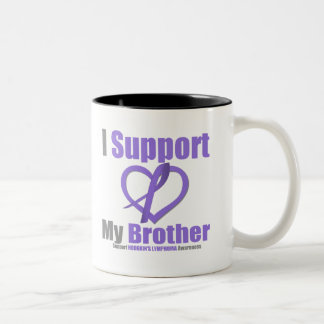Hodgkin's Lymphoma I Support My Brother Two-Tone Coffee Mug
