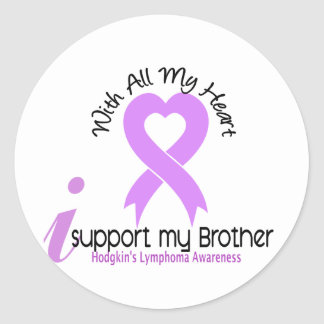 Hodgkins Lymphoma I Support My Brother Round Stickers