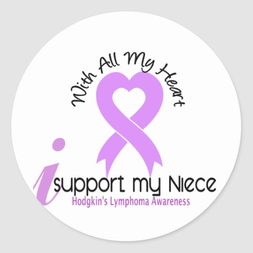 Hodgkins Lymphoma I Support My Niece Round Stickers