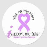 Hodgkins Lymphoma I Support My Sister Classic Round Sticker