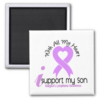 Hodgkins Lymphoma I Support My Son 2 Inch Square Magnet