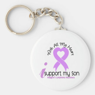 Hodgkins Lymphoma I Support My Son Basic Round Button Keychain