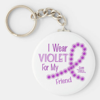 Hodgkins Lymphoma I Wear Violet For My Friend 26 Basic Round Button Keychain