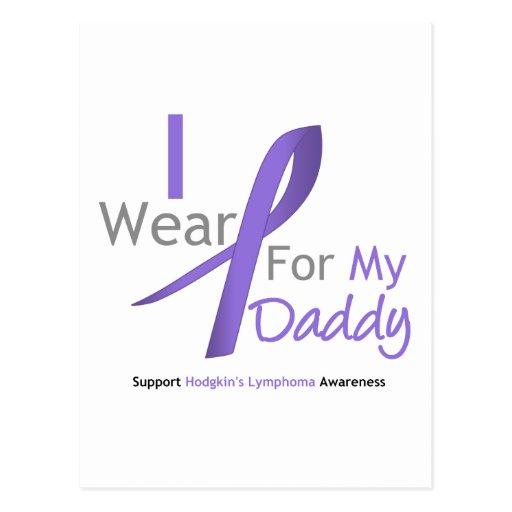 Hodgkin's Lymphoma I Wear Violet Ribbon Daddy Post Cards