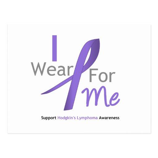 Hodgkin's Lymphoma I Wear Violet Ribbon For Me Postcards
