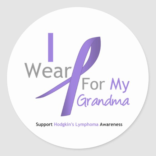 Hodgkin's Lymphoma I Wear Violet Ribbon Grandma Stickers
