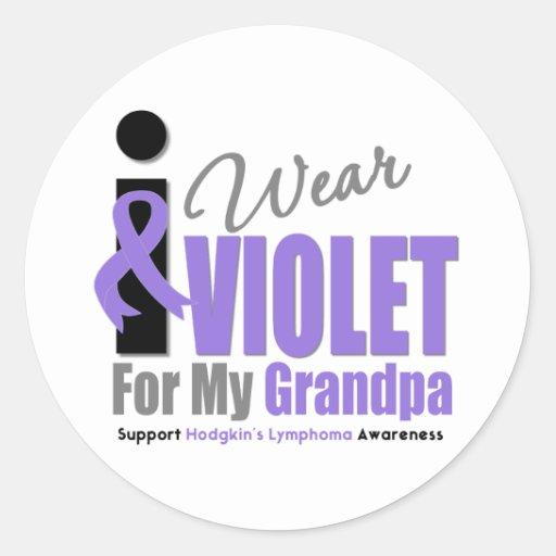 Hodgkins Lymphoma I Wear Violet Ribbon Grandpa Stickers
