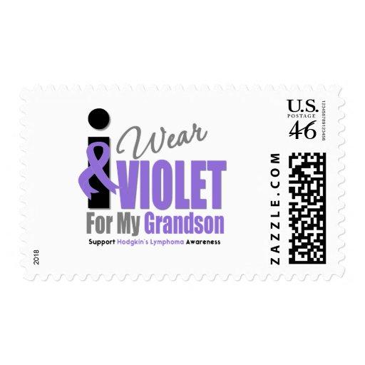 Hodgkins Lymphoma I Wear Violet Ribbon Grandson Postage Stamp