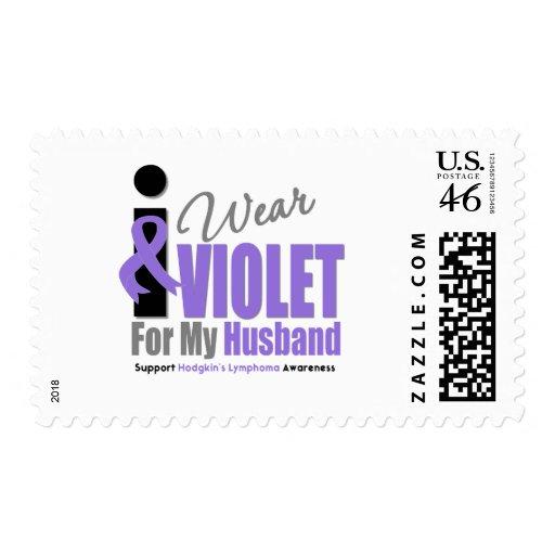 Hodgkins Lymphoma I Wear Violet Ribbon Husband Postage Stamp