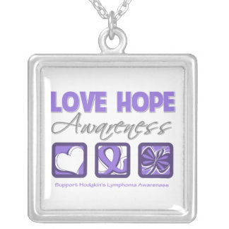 Hodgkin's Lymphoma Love Hope Awareness Square Pendant Necklace
