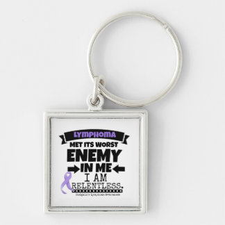 Hodgkin's Lymphoma Met Its Worst Enemy in Me Silver-Colored Square Keychain