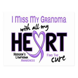 Hodgkins Lymphoma Miss With All My Heart Grandma Postcard