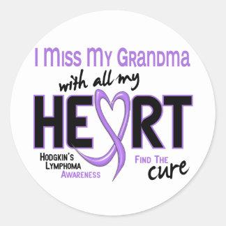 Hodgkins Lymphoma Miss With All My Heart Grandma Round Sticker