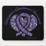 Hodgkins Lymphoma Mosaic Heart Ribbon Mousepads