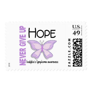 Hodgkins Lymphoma Never Give Up Hope Butterfly 4.1 Postage Stamps