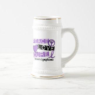 Hodgkin's Lymphoma PEACE LOVE CURE 1 Beer Stein