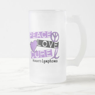 Hodgkin's Lymphoma PEACE LOVE CURE 1 16 Oz Frosted Glass Beer Mug