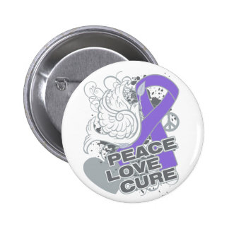 Hodgkins Lymphoma Peace Love Cure 2 Inch Round Button