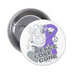 Hodgkins Lymphoma Peace Love Cure Pinback Button