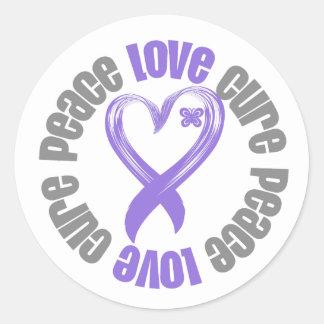 Hodgkins Lymphoma Peace Love Cure Ribbon Round Stickers