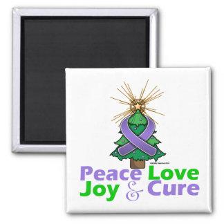 Hodgkin's Lymphoma Peace Love Joy Cure 2 Inch Square Magnet