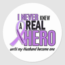 Hodgkins Lymphoma REAL HERO 2 Husband Classic Round Sticker