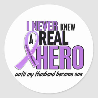 Hodgkins Lymphoma REAL HERO 2 Husband Classic Round Sticker