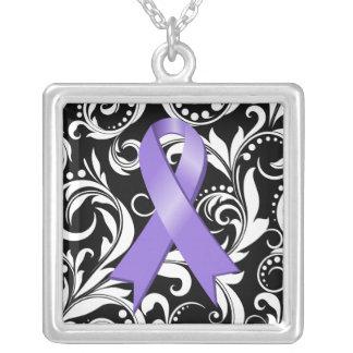 Hodgkin's Lymphoma Ribbon Deco Floral Noir Custom Necklace