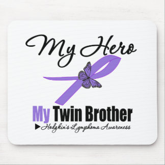 Hodgkins Lymphoma Ribbon My HERO My Twin Brother Mouse Pad
