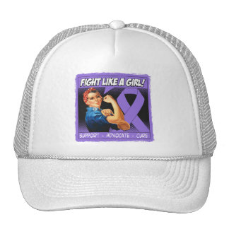 Hodgkins Lymphoma Rosie Riveter Fight Like a Girl Mesh Hats