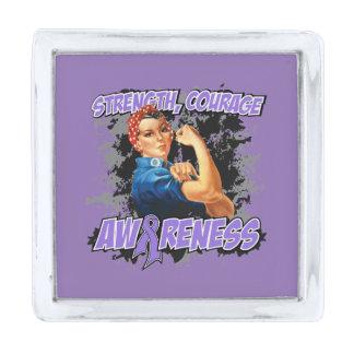 Hodgkins Lymphoma Strength Courage Awareness Silver Finish Lapel Pin