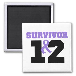 Hodgkins Lymphoma Survivor 12 Years 2 Inch Square Magnet