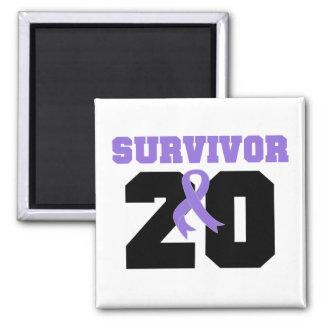 Hodgkins Lymphoma Survivor 20 Years 2 Inch Square Magnet