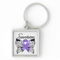 Hodgkins Lymphoma Survivor Butterfly Keychain