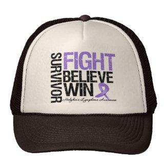 Hodgkins Lymphoma Survivor Fight Believe Win Motto Hats