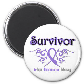 Hodgkins Lymphoma Survivor Tribal Ribbon 2 Inch Round Magnet