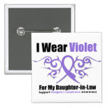 Hodgkins Lymphoma Tribal Ribbon Daughter in Law Button