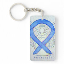 Hodgkins Lymphoma Violet Awareness Ribbon Keychain