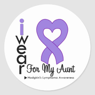 Hodgkins Lymphoma Violet Heart Support Aunt Round Stickers