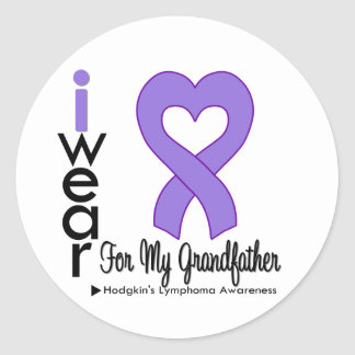 Hodgkins Lymphoma Violet Heart Support Grandfather Stickers