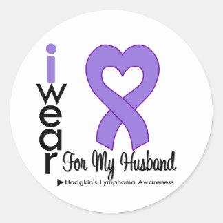 Hodgkins Lymphoma Violet Heart Support Husband Round Sticker
