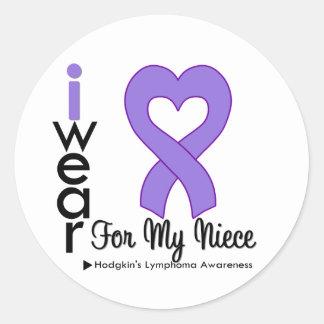 Hodgkins Lymphoma Violet Heart Support Niece Round Sticker