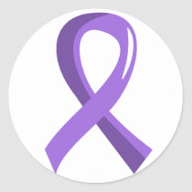 Hodgkin's Lymphoma Violet Ribbon 3 Classic Round Sticker