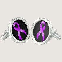 Hodgkins Lymphoma Violet Ribbon Cufflinks
