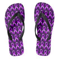 Hodgkins Lymphoma Violet Ribbon Flip Flops
