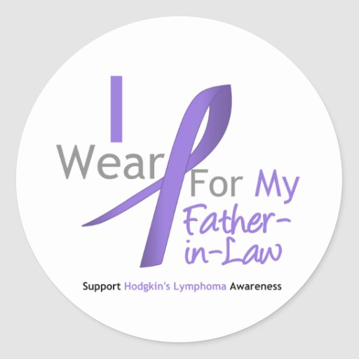 Hodgkin's Lymphoma Violet Ribbon For Father-in-Law Round Sticker